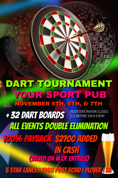 dart tournament template