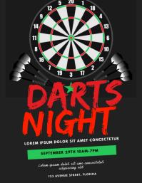 Darts Night Flyer Template Volante (Carta US)