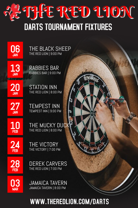Darts Tournament Poster Template