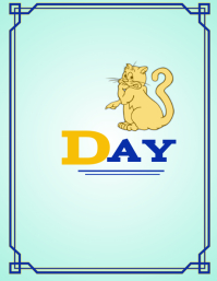 DAY 3 Book Cover Cat Løbeseddel (US Letter) template