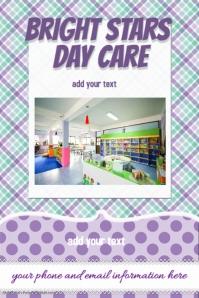 Day Care Camp Book Club purple plaid sweet invitation flyer