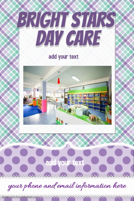 Day Care Camp Book Club purple plaid sweet invitation flyer
