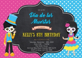 Day of the dead birthday party invitation