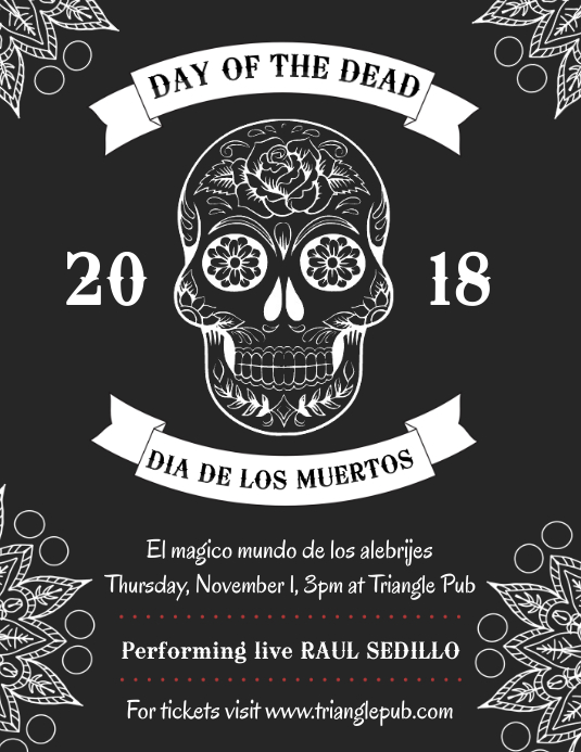 Day of the Dead Black and White Flyer Template