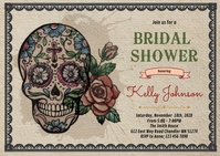 Day of the dead bridal shower invitation A6 template