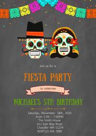 Day of the dead fiesta invitation