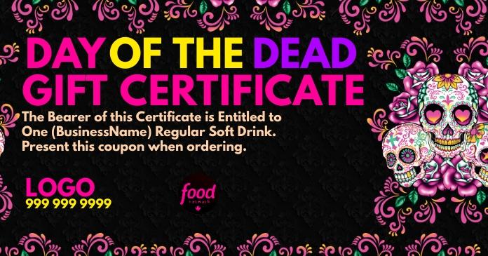 Day of the Dead Gift Certificate Template Gambar Bersama Facebook