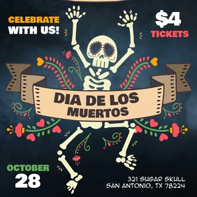 Day of the Dead Party Fiesta Video Ad Template Instagram Plasing