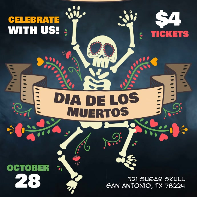 Day of the Dead Party Fiesta Video Ad Template Instagram Post