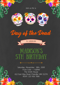 Day of the Dead party invitation A6 template