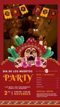 Day of the Dead Party Video Invitation Displa Digital Display (9:16) template