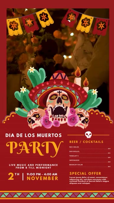 Day of the Dead Party Video Invitation Displa