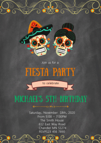 Day of the dead skull fiesta invitation