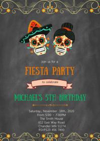 Day of the dead skull fiesta invitation