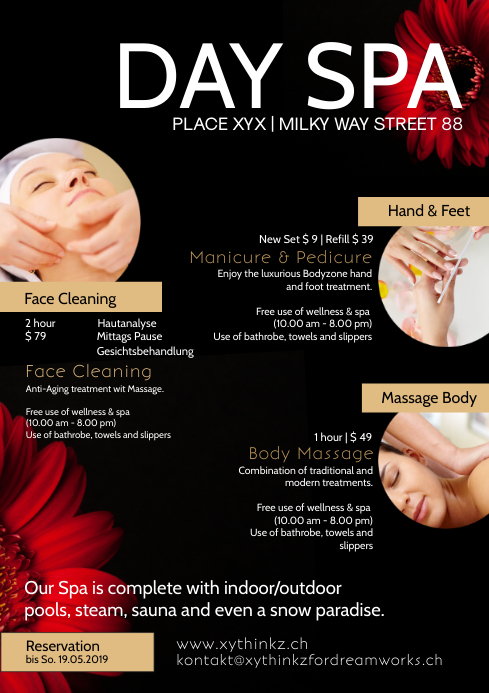 Day Spa Beauty Treatment Health Wellness Ad A4 template