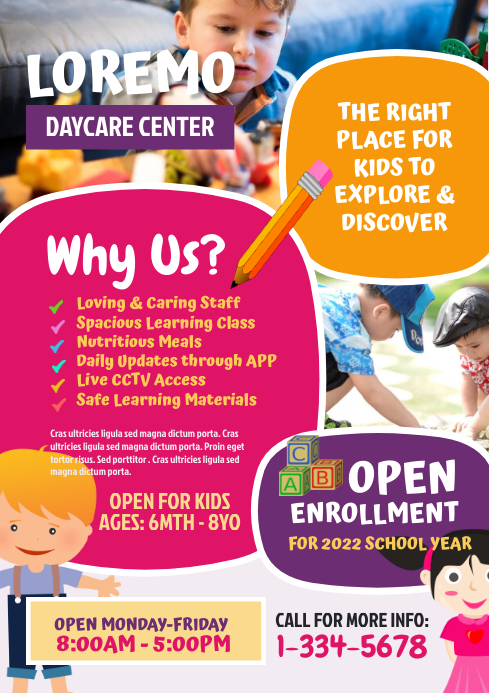 Daycare Center Flyer A4 template