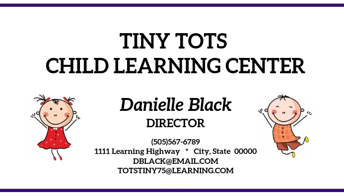 Daycare child learning center business card template