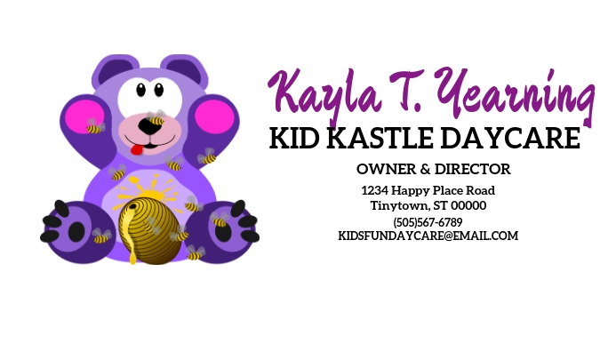 Daycare owner director center business card template