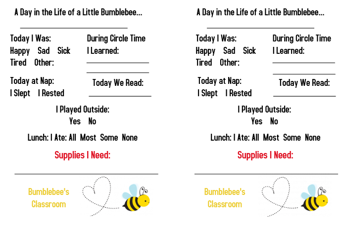 Daycare Toddler Daily Report