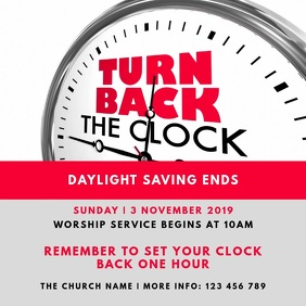 Daylight Saving Ends - Fall Back Sunday Churc Instagram na Post template