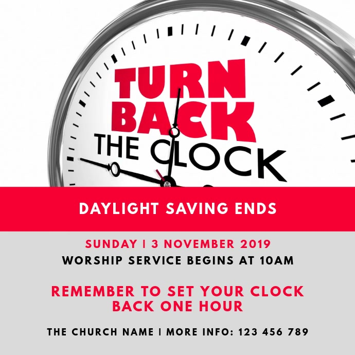 Daylight Saving Ends - Fall Back Sunday Churc Pos Instagram template