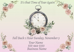 Daylight Savings Time Change Fall Back Advert Postcard template