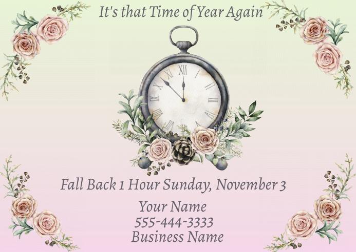 Daylight Savings Time Change Fall Back Advert Poskaart template