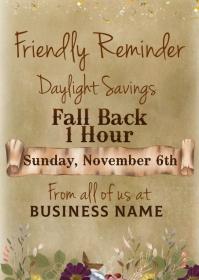 Daylight Savings Time Change Video Postcard A6 template