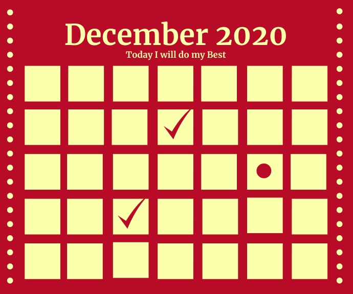 December Calendar 2020 Template Persegi Panjang Sedang