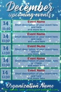 December Calendar Blue Snow Falling Video Poster template