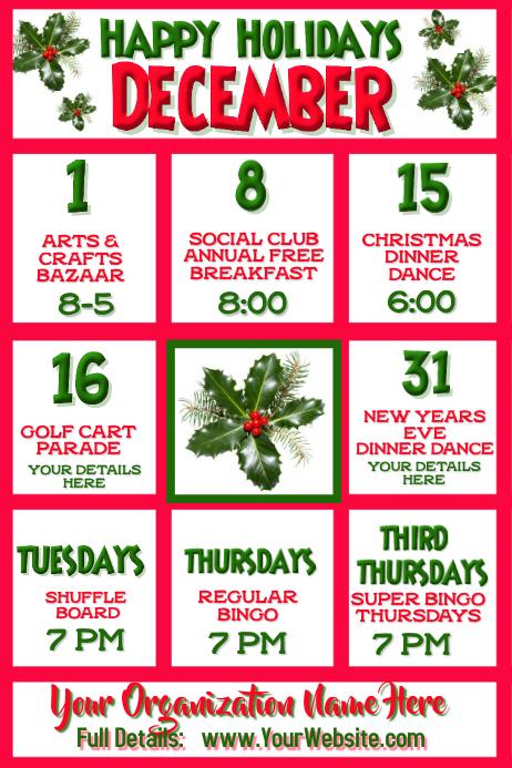 December Calendar or Photo Collage
