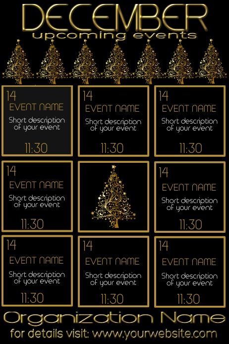 December Monthly Events Calendar