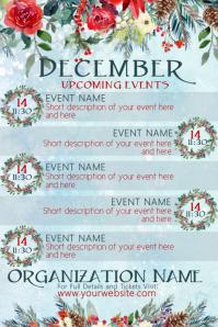 December Upcoming Events Floral Calendar Poster template