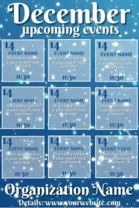 December Upcoming Events Video Blue Snow Fall Plakkaat template