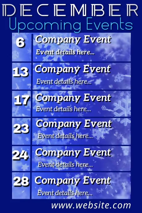 December Upcoming Events Video Póster template