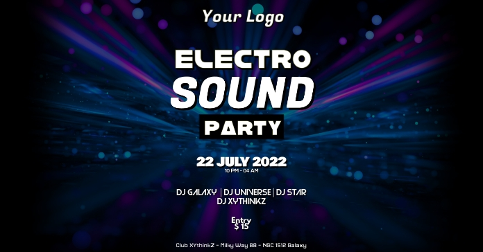 Deep House Electro Music Event Party Psychedelic Ad Facebook-annonce template