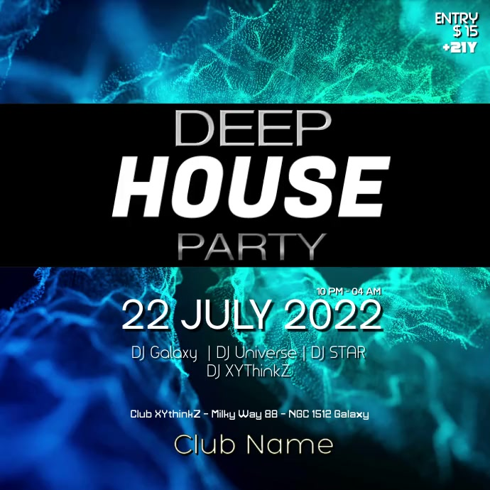 Deep House Electronic Music Party Abstract Ad