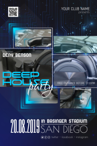 Deep House Night Dj Disco Party Flyer Poster