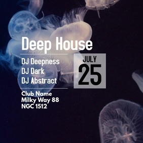 Deep House Party Electronic Music Abstract jellyfish