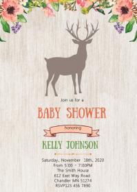 Deer baby shower invitation