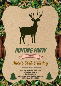 Deer camouflage party invitation A6 template