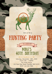 Deer hunting party invitation A6 template