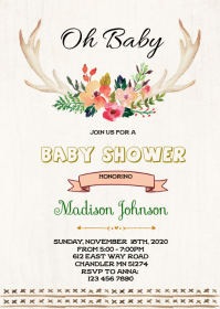 Deer shower theme party invitation