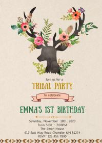 Deer tribal birthday party invitation