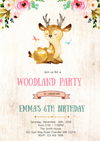 Deer woodland birthday party invitation