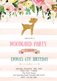 Deer woodland birthday party invitation