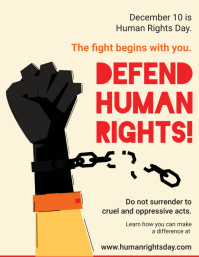Defend Human Rights Event Flyer Folheto (US Letter) template