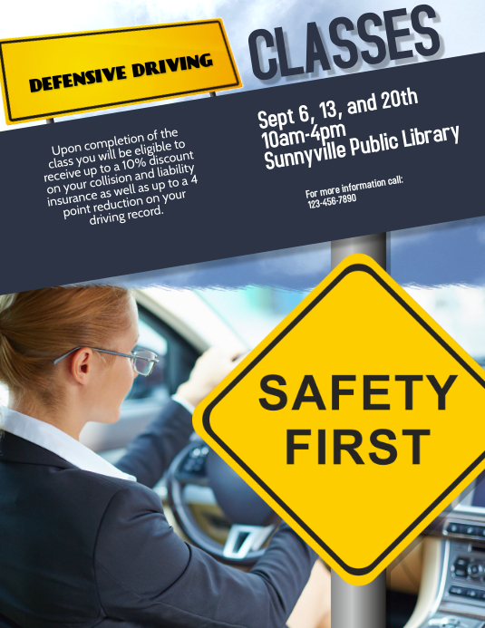 image about Defensive Driving Course Online With Printable Certificate identify defensive guiding cl flyer template PosterMyWall