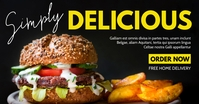 delicious burger advertising white and yellow Facebook-Anzeige template