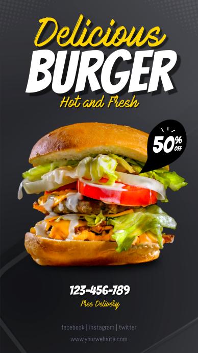 Delicious Burger Instagram Template Instagram-verhaal